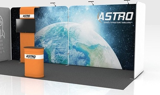 Kiosque d'exposition tubulaire portable Astro