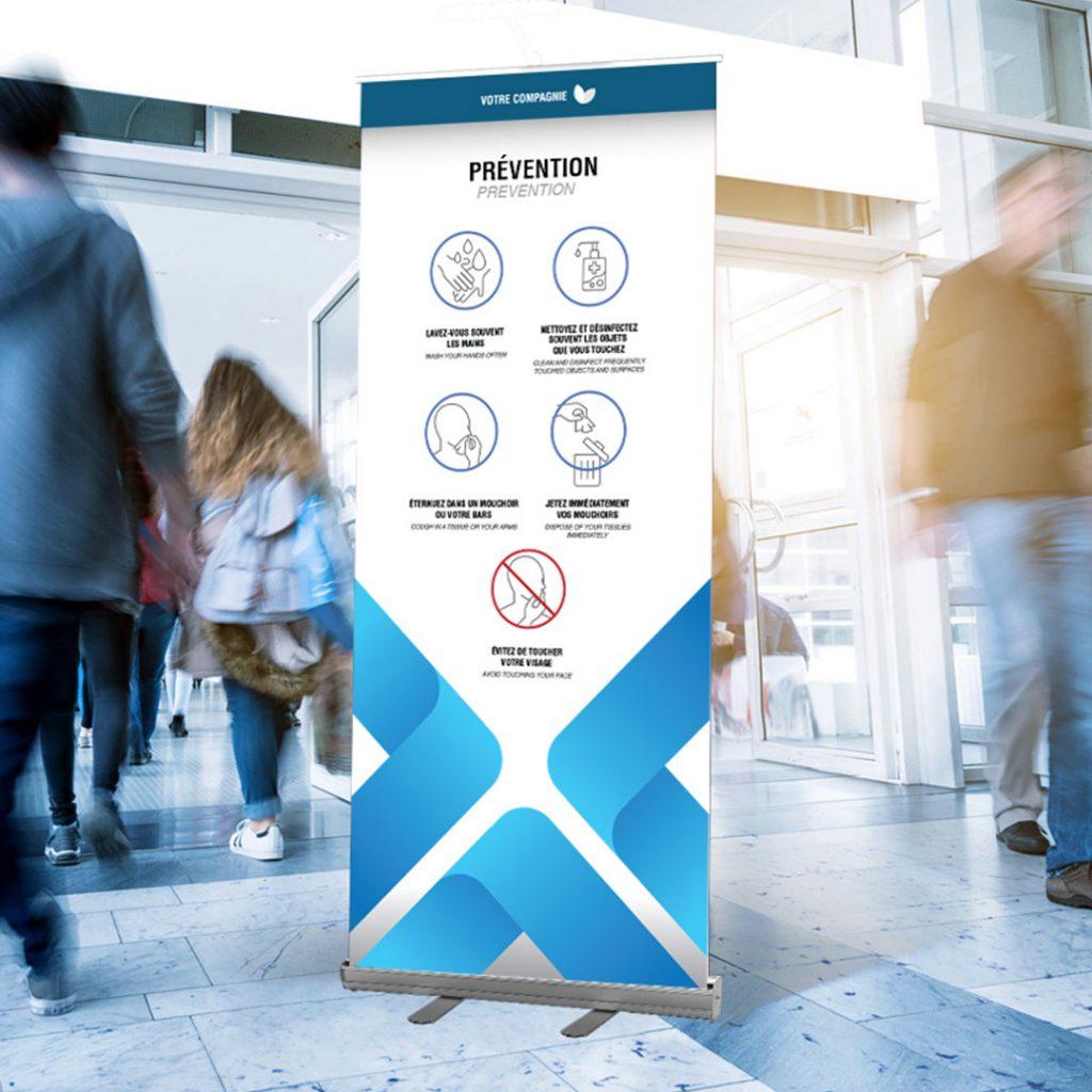 Bannière sur mesure qui indique les gestes de prévention à poser