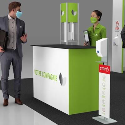 Distributeur automatique de désinfectant sur pied pour kiosques