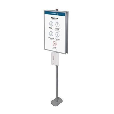 Distributeur automatique de désinfectant sur pied avec grande affiche